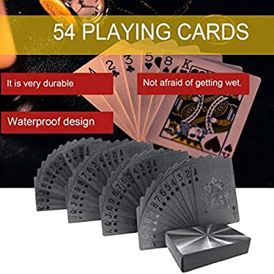 Baynne 54pcs/Pack Fashion Gold Foil Poker Novelty Collection Waterproof PVC Plastic Color:Black Size:: Sports & Outdoors