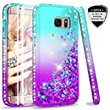 Galaxy S7 Edge Glitter Case with 3D Pet Screen Protector [2 Pack] for Girls Women, LeYi Bling Shiny Diamond Liquid Clear TPU Protective Phone Case for Samsung Galaxy S7 Edge Teal/Purple