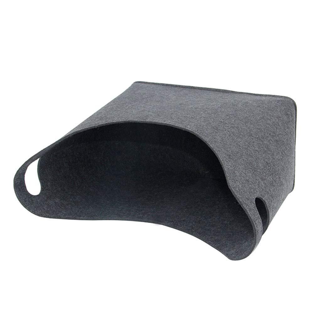 armine88 Ablagekorb Startseite W/äscheservice Brennholz Korbhalter Toy Book Bag Faltbarer Filz Dunkelgrau