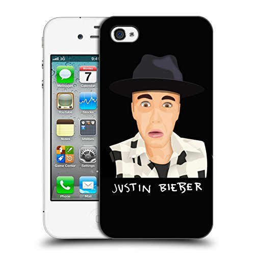 Official Justin Bieber Funny Face Justmojis Hard Back Case for Apple iPhone 4 / 4S