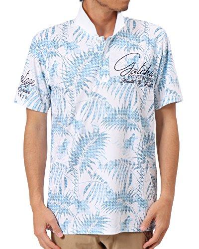 ガッチャゴルフ GOTCHA GOLF 半袖シャツ?ポロシャツ 吸水速乾千鳥リーフ柄総柄鹿の子半袖ポロシャツ