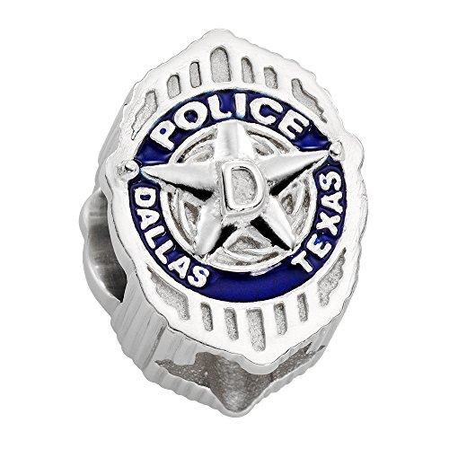 Dallas Police Charm (DPD) - Sterling Silver - Fits Pandora Bracelet (Silver Enamel Shield Charm)