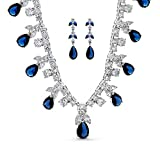 Bling Jewelry Simulated Blue Sapphire Teardrop Clear CZ Jewelry Set Rhodium Plated