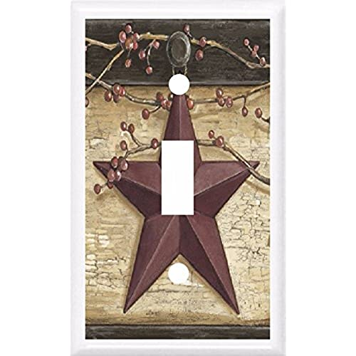 Country barn star berries home decor light switch cover plate or outlet 1x toggle single