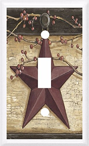 COUNTRY BARN STAR & BERRIES HOME DECOR LIGHT SWITCH COVER PLATE OR OUTLET (1x TOGGLE (SINGLE)) Light Country Switches