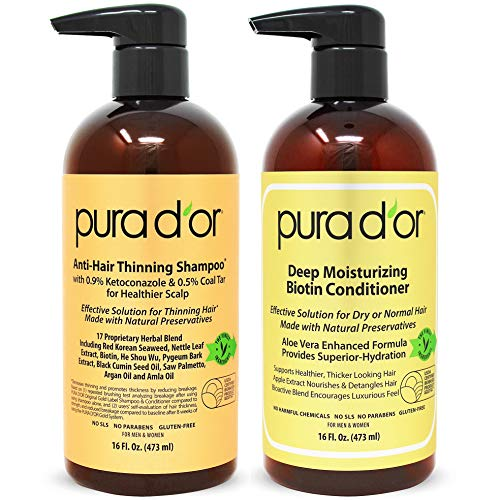 PURA D'OR Anti-Thinning Shampoo w/Biotin, Coal-Tar & 0.9% KETO-CONAZOLE + Deep Moisturizing Conditioner Set: Reduce Hair Thinning and Healthy Scalp - All Hair Types, Men & Women (Packaging May Vary) (Best Option For Hair Loss)