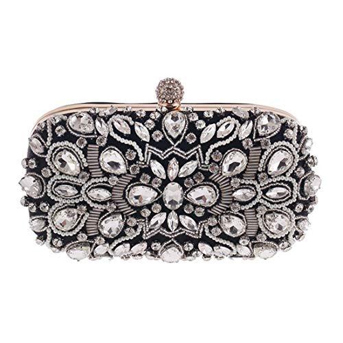 Mujeres Clutch Bags Honneury Purse Evening Ocasiones Black Las Crystal Embragues Black Especiales color Bag Handbags YYqTHw5