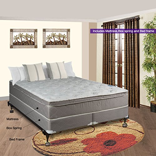 Spinal Solution Luxury Collection Fully Assembled Orthopedic 10'' Pillowtop Eurotop Mattress & Box Spring with Frame, King by Spinal Solution