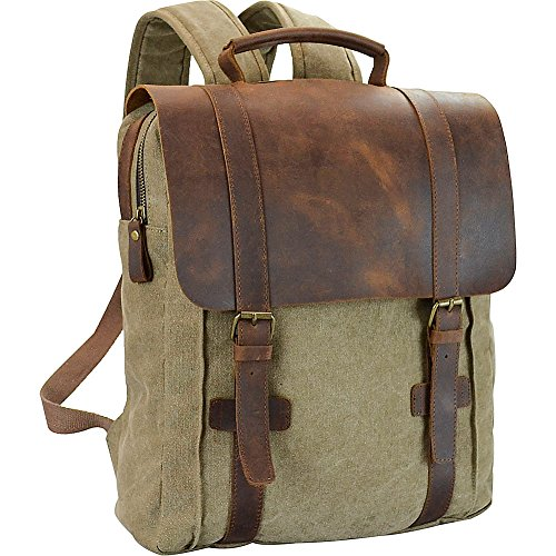 r-r-collections-genuine-leather-canvas-laptop-backpack-green