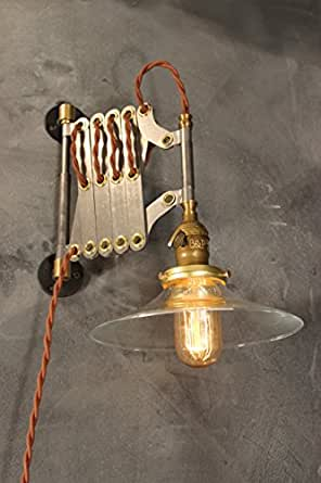Industrial Scissor Lamp Antique Sconce Vintage Accordion Lamp Expandable Wall Light