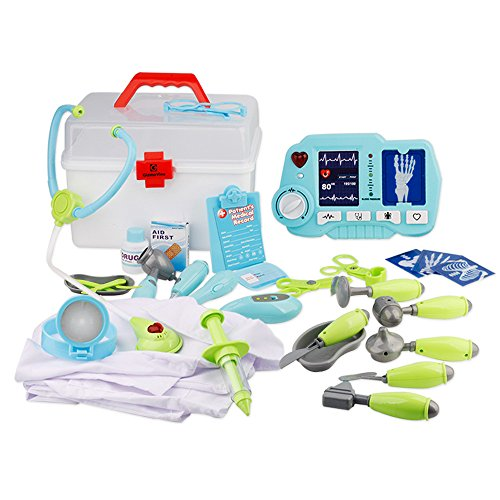 2 Future Costume The Doc Back To (Gizmovine Children Pretend Doctor Kit with choth and X-Ray Machine, Premium 31 Piece set with Carry Case and Doctor)