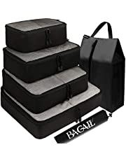 BAGAIL 6 Set Packing Cubes,Travel Luggage Packing Organizers with Laundry Bag(Black Net)