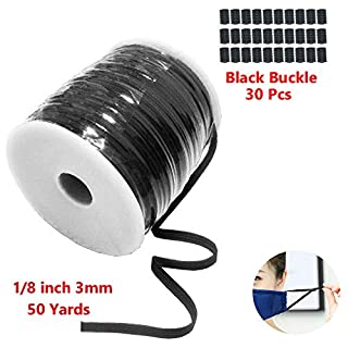 """Black 50-Yards Length 1/8"""" Width Braided Elastic Cord Flat Elastic Band, Braided Stretch Strap Cord Roll for Sewing and Crafting (Black Buckle 30 Pcs)"""