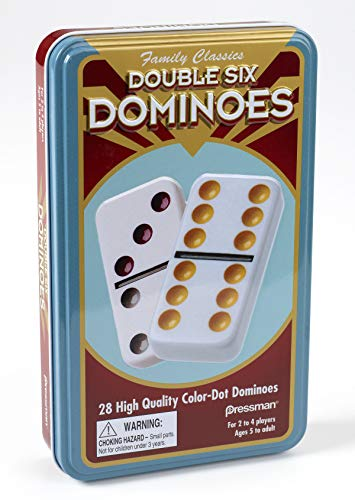 Pressman Double 6 Colored Dominoes