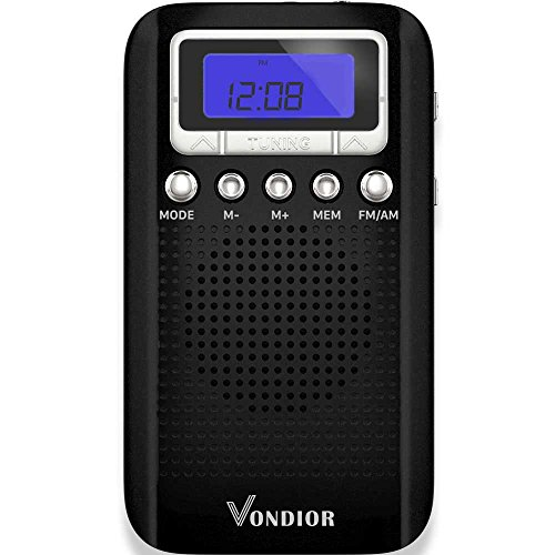AM FM Digital Portable Pocket Radio with Alarm Clock- Best Reception and Longest Lasting. AM/FM Compact Radio Player Operated by 2 AAA Battery, Stereo Headphone Socket, Perfect Father Gift by Vondior