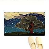 Bath Mat,Funk Art Stylized Vibrant Starry Night Sky with Puffy Clouds and Tree Illustration Print,Doormats for Inside Non Slip Backing,Multi,Size:24'x36'