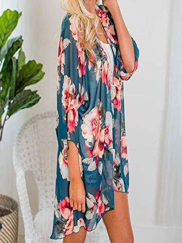 Chiffon Cardigan, Flower Print Open Front Shawl Kimono Coat Jackets Cover up Blouse Tops(Green,S) by yijiamaoyiyouxia Blouse (Image #5)