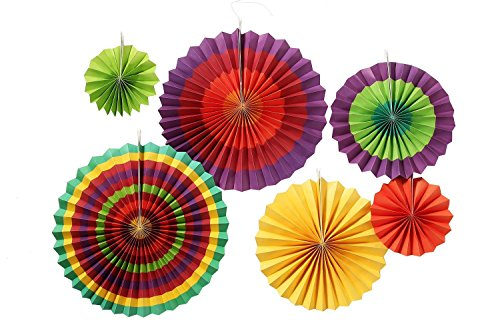 nging Paper Fans Round Wheel Pattern Fiesta Design for Parties, Birthdays, Barbecues, Holidays (Fiesta Pattern)