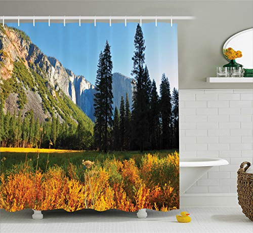 Ambesonne Apartment Decor Shower Curtain Set, Bird's Flight Flies Over Mountains of Yosemite National Park Early Fall Season, Bathroom Accessories, 69W X 70L inches, Orange Blue Green