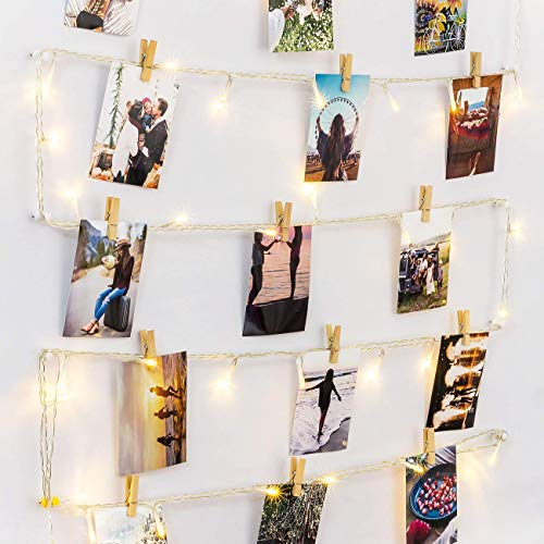 HAYATA [Remote & Timer] 40 LED Wooden Photo Clips String Light Picture Display - 30ft Fairy Battery Operated Hanging Picture Frame for Party Wedding Dorm Bedroom Birthday Christmas Decorations (Pinterest Ideas Decor Living Room)