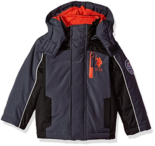 US Polo Association Toddler Boys' Outerwear Jacket (More Styles Available), UB99-Stadium-Charcoal/Black, 2T