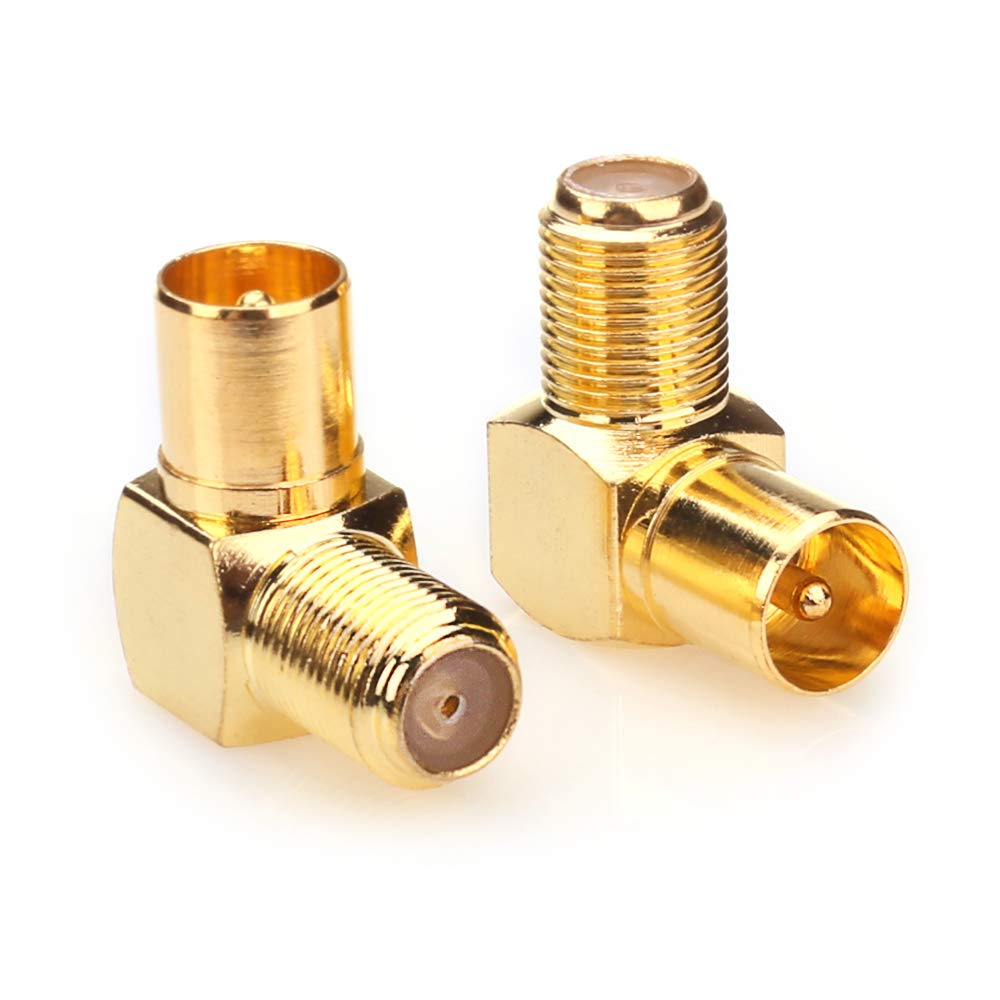 Nanyi TV-Antennenadapter Buchse auf Stecker T-//F-Schraubverbinder auf RF-Koaxial-Antennenadapter vernickelt 2 St/ück