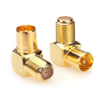 Conector coaxial NANYI Hembra a macho TV Cable de televisión coaxial antena Acoplador, conector de tipo T / F enchapado en oro y ángulo recto a RF ...