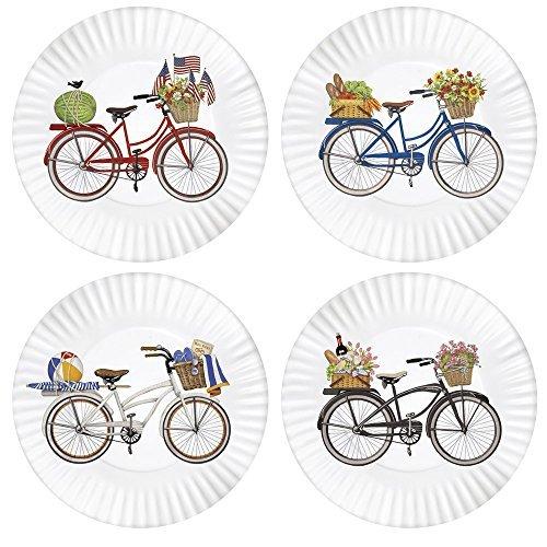 Mary Lake-Thompson Summer Bikes 9-inch Melamine Plates, Set of 4