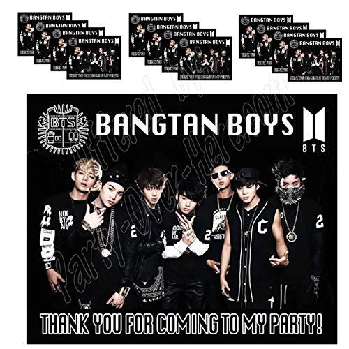 BTS Bangtan Boys K-Pop Stickers Party Favors Supplies Decorations Gift Bag Label Stickers ONLY 3.75 x 4.75 -12 South Korean Boy Band Jin Suga J-Hope RM Jimin V Jungkook