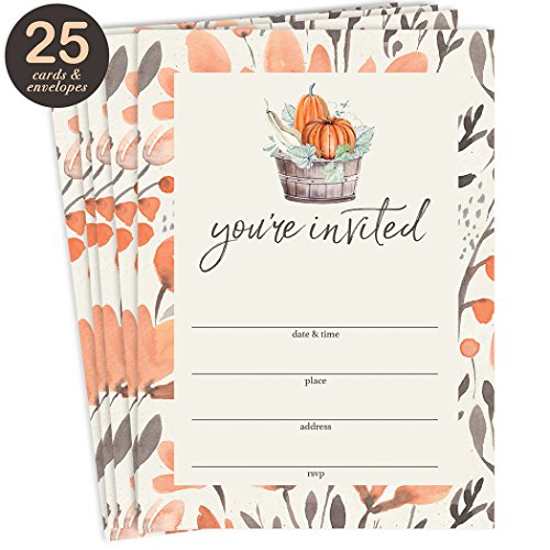 Thanksgiving Dinner Invitations & Envelopes ( Pack of 25 ) Large Blank 5 x 7