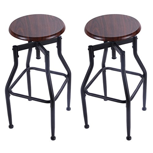 Classic Style Bar Stool Metal Design Solid Wood Top Height Adjustable 360 Degree Swivel Chair Tan - Set Of 2 #1061a (Patio Furniture Toronto Sale)
