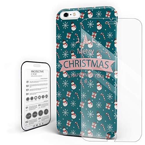 (iPhone Case Set, Merry Christmas Happy New Year Theme Snowman and Gift Pint PC Hard Back Protective Cover Phone Case with Slim Tempered Glass Screen Protector, Compatible with 6Plus / 6sPlus)