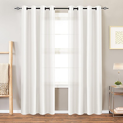 White Faux Silk Curtains Bedroom 95 inches Long Grommet Top Light Reducing Window Curtain Panels Living Room Satin Drapes Privacy Dupioni Window Treatments 2 Panels
