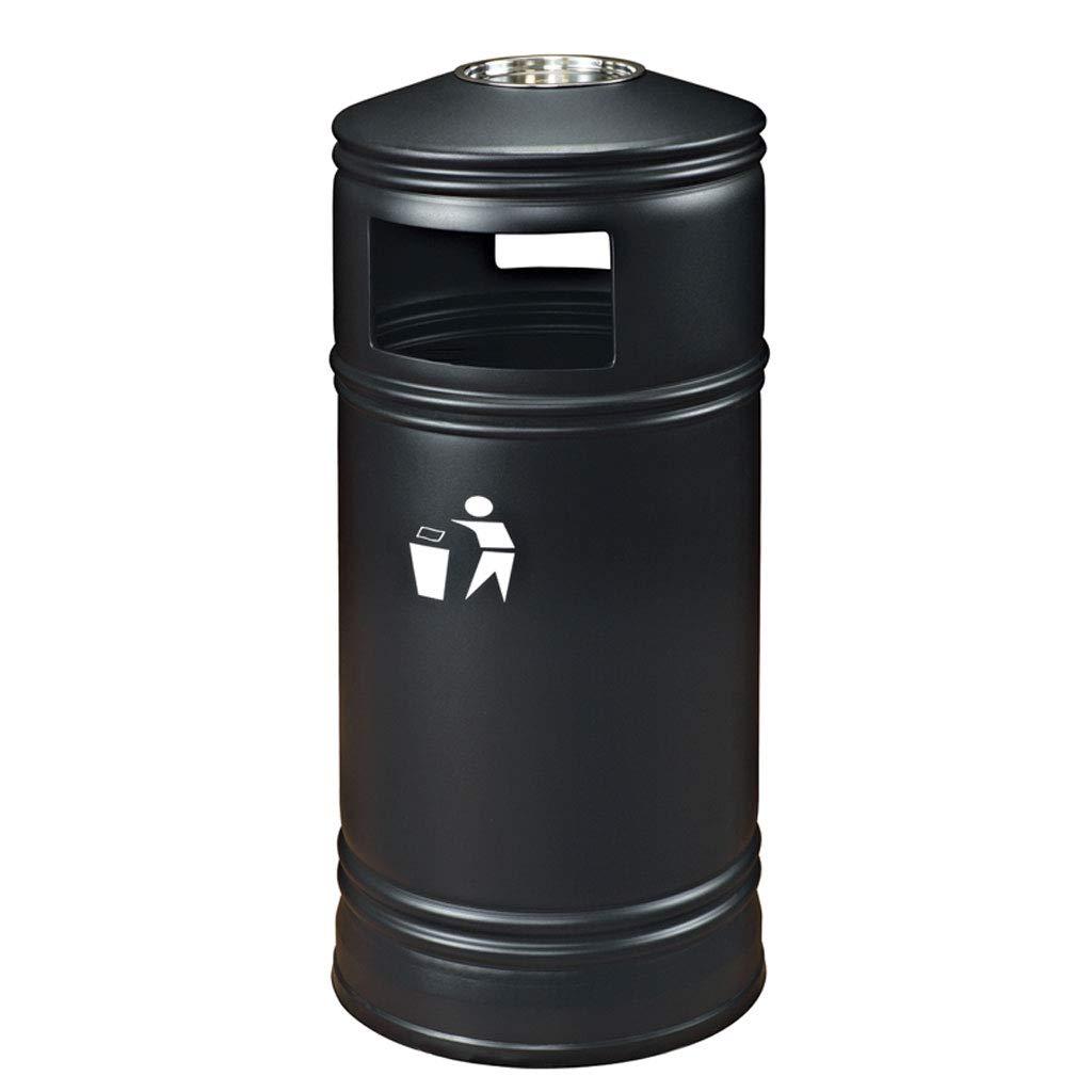 Wastebaskets Metal Trash Bin Hotel Restaurant and Ashtray Shopping Central Community Park Creative Waste (38 94 cm) (Color : Black, Size : 3894cm)