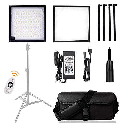 LED Light Panel, SAMTIAN 30x30cm Dimmable Photography Studio Lighting with 4500LM CRI 90+ 3200K-5600K Camera Light Panel Mat Adjusted by 100 Feet 2.4G Wireless Remote Control for Photo Video Shooting by SAMTIAN
