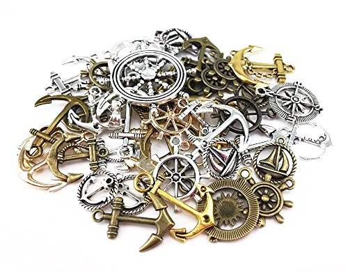 yueton?100 Gram (Approx 47pcs) Assorted DIY Antique Anchor Charms Pendant Craft Making Accessory ()