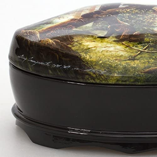 Beautiful Hand-painted Papier-mache Lacquer Box for Jewelry Morning in a Pine Forest Great Gift for Women