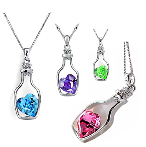 Heart In A Bottle Pendant Necklace Set - 4 Pack Costume Jewelry - - Jewelry Set Anastasia