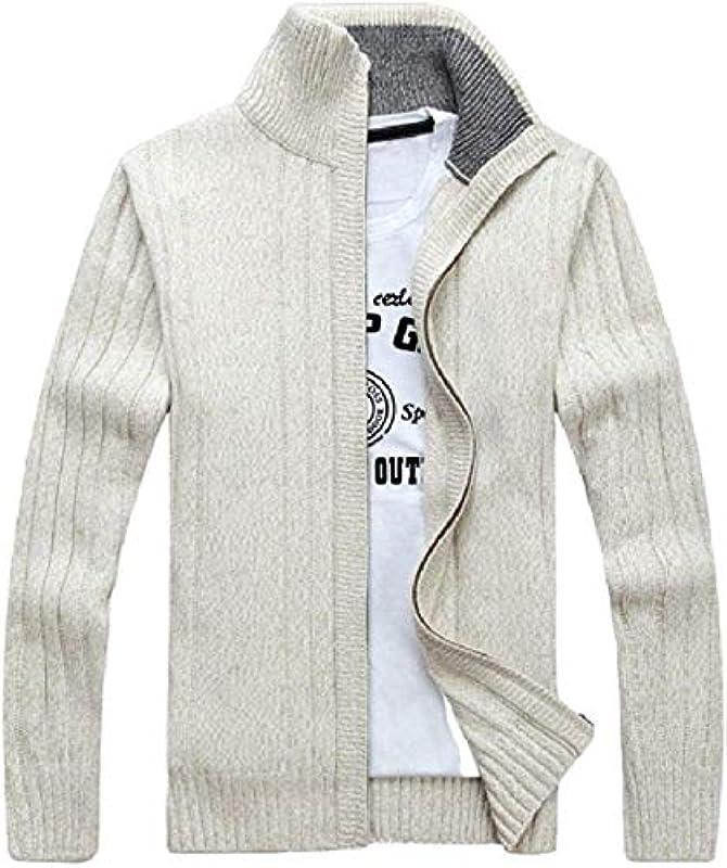 AiMei Men Stand Collar Slim Classic Knitted Full Zipper Sweater Cardigan: Odzież