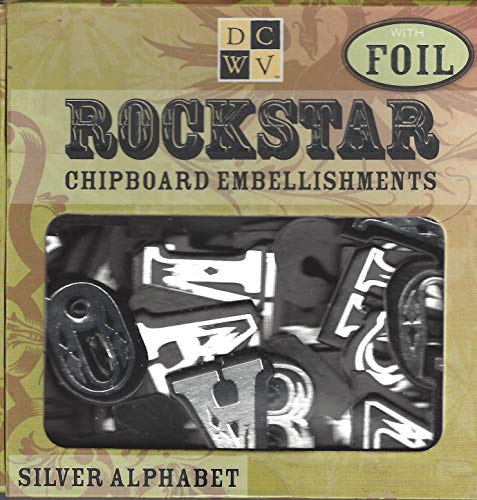 Diecuts With A View Chipboard Embellishments Boxed, Rockstar Silver Alphabet With -