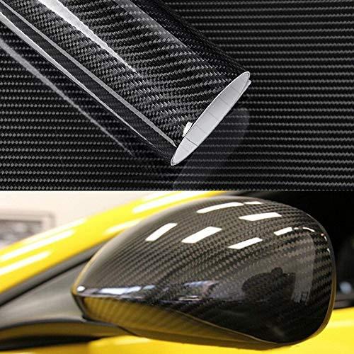 6FT x 5FT Premium 5D HIGH GLOSS Black Carbon Fiber Vinyl Wrap Bubble Free Air Release 72