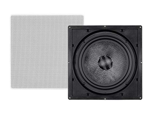 Monoprice Carbon Fiber in-Wall Speaker - 10 Inch (Each) 300 Watt Subwoofer, Easy Install for Home Theater - Alpha Series
