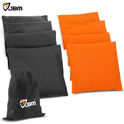 JBM Cornhole Bag 8 Color Available ( Pack of 8 ) Weather Resistant Cornhole Bags with Recycled Plastic Pellets for Tossing Core hole Game (Orange & Black, Regular) 6 Inch Bean Bag
