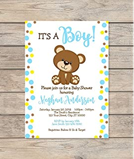 Amazon baby shower invitations teddy bear baby boy chevron boy teddy bear baby shower invitation custom blue dots baby teddybear invite baby boy filmwisefo Choice Image