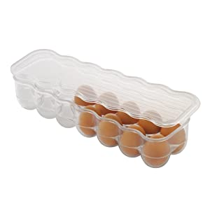 "InterDesign Plastic Egg Holder for Refrigerator with Handle and Lid, Fridge Storage Organizer for Kitchen, Holds up to 14, 4.25"" x 14.5"" x 3"", Clear"