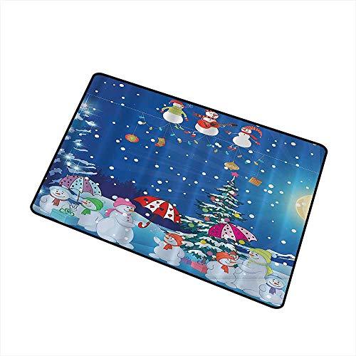 (Jbgzzm Interior Door mat Christmas Snowman Winter Snowkids Snowing Moonlight Snowflakes Digital Print Blue Yellow White Fuchsia W20 xL31 All Season General Pink Green Machine Washable)