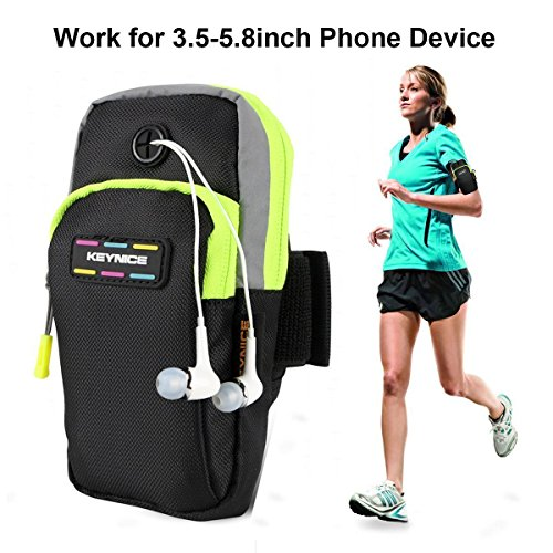 "Keynice(TM) Sports Armband, Multifunctional Pockets Workout Running ArmBag for iphone 7,7 plus, 6, 6plus, 5, 5s, 5c,Galaxy S5,S4,S3,Note 2 3 4 and all 3.5~5.8"" smartphone"