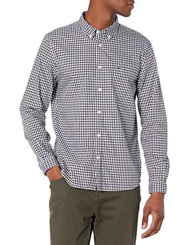 Lacoste Men's Long Sleeve Gingham Regular Fit Poplin Shirt