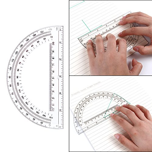 24 Pack Protractors Esee Plastic Protractor for School Teachers and Students, 6 Inch Math Clear Protractor by ESEE (Image #1)