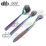 DDP Set of 3 Wartenberg Neurological Pin Wheel Pinwheel 1, 2, 7 Head Diagnostic Multi Color Rainbow